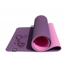 Коврик для йоги двухслойный TPE 6 мм OFT Бордово-Розовый