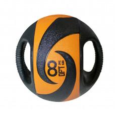 Мяч тренировочный (медицинбол) с хватами FitTools, 8 кг
