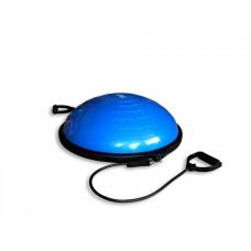 Баланс-полусфера гимнастическая надувная с эспандерами и насосом FitTools 63 см