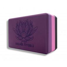 Блок для йоги трехцветный Premium в коробке FitTools