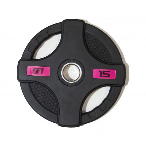 Диск олимпийский обрезиненный с двумя хватами 15 кг Original FitTools