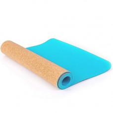 Коврик для фитнеса и йоги TPE + Пробка, 173х61х0,4см, Larsen