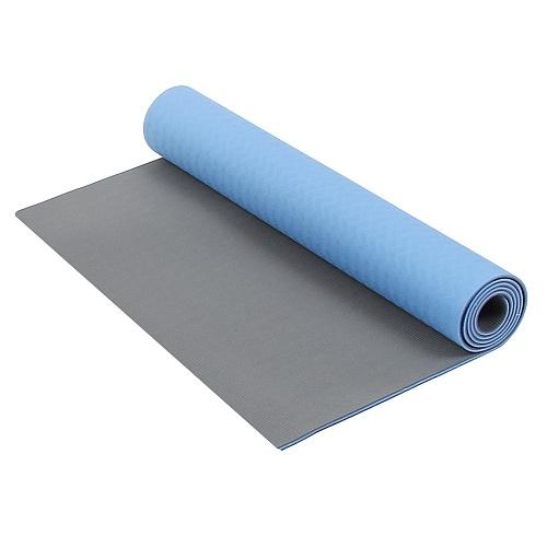Коврик для фитнеса и йоги Larsen TPE двухцветный Синий-Серый