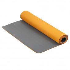 Коврик для фитнеса и йоги Larsen TPE двухцветный Оранжевый-Серый