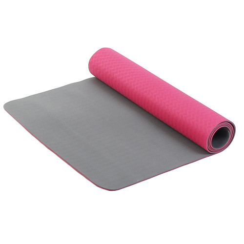 Коврик для фитнеса и йоги Larsen TPE двухцветный Розовый-Серый
