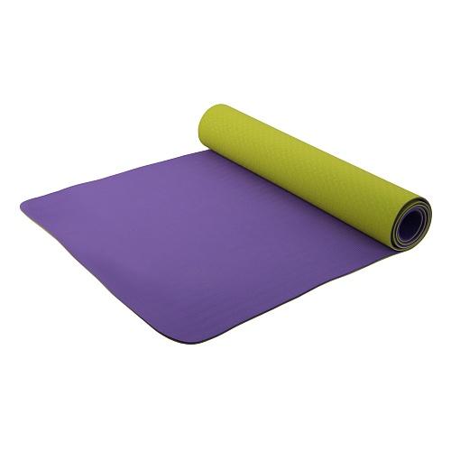 Коврик для фитнеса и йоги Larsen TPE двухцветный Фиолетовый-Зеленый