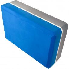 Йога блок 2-х цветный - Синий-Серый
