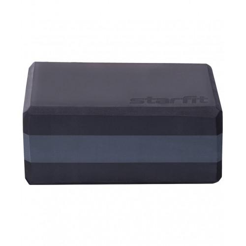 Блок для йоги YB-201, StarFit, 22,8х15,2х10 см, Черно-Серый