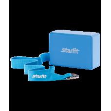 Комплект из блока и ремня для йоги FA-104 StarFit, синий